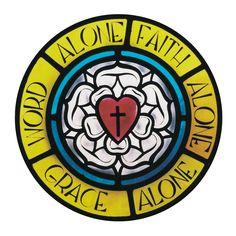 "Martin Luther's ""rose"" with the three Solas - Sola  Scriptura, Sola Fide, Sola Gratia"