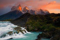 Sunrise-on-Las-Cuernos-cascades-above-Salto-Grande-Torres-del-Paine-National-Park-Chile