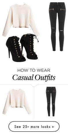"""casual ladies night"" by mdw329 on Polyvore featuring Paige Denim and Giuseppe Zanotti"