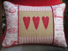 Valentines Day Pillow Cover,  Valentine Decor Heart Pillow, Red & White Decorative Throw Pillow,  Pillow w/Hearts, French Fabric Paris 12x16...