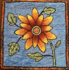 Sunflower Pillow designed by Brigitta Phy hooked by Gita Phy from Green Valley Rug Hooking