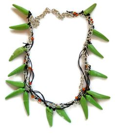 Beaded spike necklace African green Magnesite by AnAstridEndeavor, $70.00