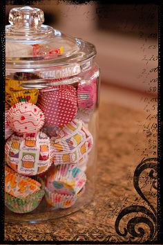 Cool display storage idea for cupcake papers!