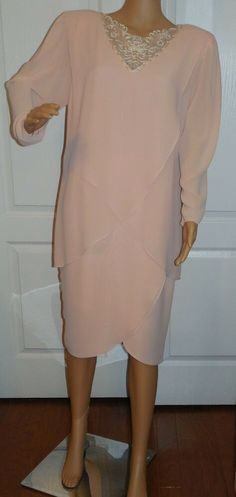 532c99a8ddb Details about Vintage Ursula Of Switzerland Pink Draped Chiffon Beaded Neck  Formal Dress SZ 10