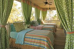 colorful sleeping porch