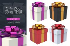 Gift Box 3D by pixaroma on Creative Market