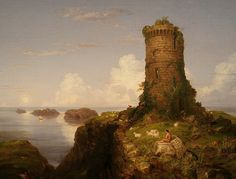 Thomas Cole: Italian Coast Scene with Ruined Tower, 1838. Source: Artcyclopedia; photograph by Michael Weinberg