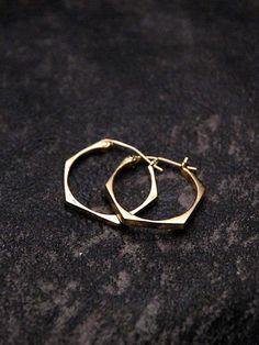 Brooklyn Heavy Metal - Nut Hoop Earrings in 18k Gold Plated Brass
