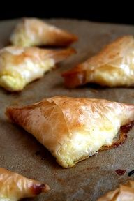 www.gaea.gr Wendi Hamel via Denise Doucette Tiropitas (cheese pies) These are so good, I know I say that about everything but really these are the best little Greek things I every ate. I love Greek food...