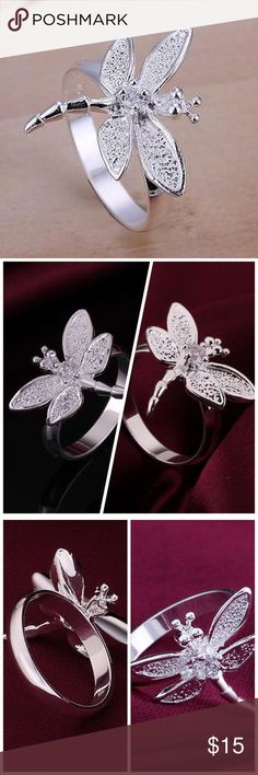 Dragonfly Ring Precious sterling silver overlay dragonfly adorned with a rhinestone. This is simply to cute to pass up! New. No Trades. Size 7.5. ✨Note: All products are free from detectable defects by me unless otherwise stated in the description. All products are sold as is & without refunds or returns.✨ Boutique Jewelry Rings