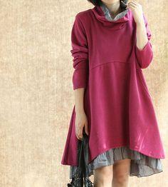 Women fall Long dress/  Cotton Heap collar loose dress/ by MaLieb, $99.00