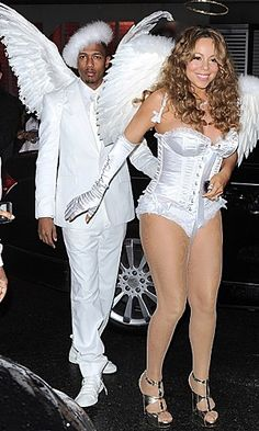 Mariah Carey and Nick Cannon charm as angels. 2000s Fashion, Fashion Outfits, Maria Carey, Celebrity Halloween Costumes, Nick Cannon, Celebrity Style, Celebrity Women, Music Icon, Spooky Halloween