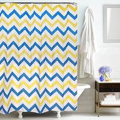 Uphome 72 X 72 Inch Trendy Yellow and Blue Chevron Zig-zag Striped Pattern Kids Bathroom Shower Curtain - Bright Bathroom Accessories and Sets Ideas Uphome http://www.amazon.com/dp/B00XXWXDBK/ref=cm_sw_r_pi_dp_-gi1wb1ZTNZMY