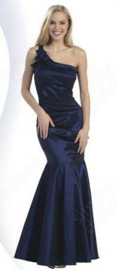 Trumpet/Mermaid One Shoulder Taffeta Floor-length Royalblue Draped Prom Dress