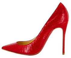 Christian Louboutin Bright Red Snakeprint Pumps 2013 #CL #Louboutins #Shoes