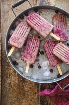 banana, blueberry, and almond popsicles