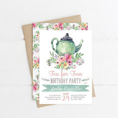 Tea Party Birthday Invitations, Tea for Two Invite Printable, Tea Pot, Florals, Watercolor, Garden 2nd Birthday, 3rd, 4th, 5th Invite your guests to Tea for Two with this watercolor invite. PLEASE NOTE: This item is a DIGITAL FILE. You are purchasing a digital file only. No