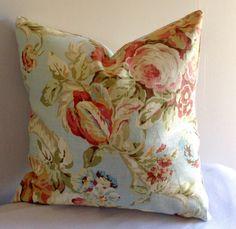 Waverly Floral, Romance in Rose. 18x18 Gorgeous Linen Pillow Cover, Decorative Pillow, Pillow Sham, Pillow Case