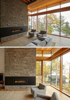 contemporary home accents This contemporary cottage has large windows, a stone accent wall, a fireplace with a black surround, and a wood ceiling. Contemporary Cottage, Contemporary House Plans, Modern Cottage, Small House Design, Cottage Design, Modern House Design, Fireplace Windows, Cottage Fireplace, Modern Lake House