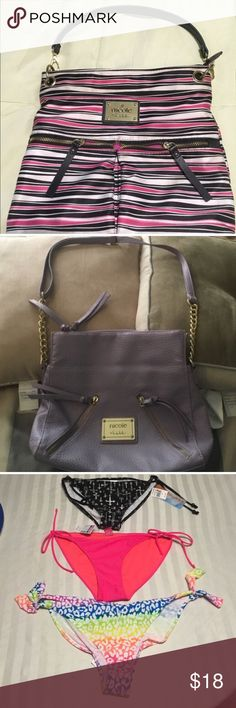 2 purses & 3 swimsuit bottoms This bundle includes a pink & purple purse and 3 new bathing suit bottoms. See photos. Many Bags