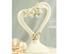 Anniversary cake topper in glazed porcelain with sculptured leaf and rose accents and in the color gold. Cake topper measures 3 at the base and is 5 tall. 50th Wedding Anniversary Decorations, 50th Anniversary Cakes, Golden Anniversary, Anniversary Ideas, Anniversary Centerpieces, Anniversary Invitations, Party Centerpieces, Anniversary Parties, Happy Anniversary