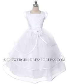 Girls Dress Style 0143- WHITE Satin Organza Dress with Pearl and Sequin Detailing $54.99