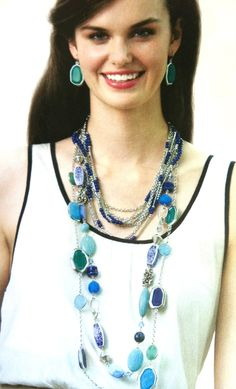 //NEW//  Gemma Necklace $49, Blue Lagoon Necklace $41, True Blue four strand Necklace $56 and Blue Me Away Earrings $49