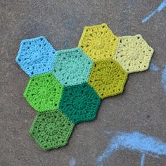 Hexagon Pattern: make several and whip stitch into a blanket. This would be great for leftover yarn, particularly because I can't seem to break out of one color palette...