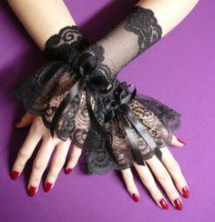 Schwarze gotische Stulpen aus Spitze, Gothic Lolita und Vampire Style