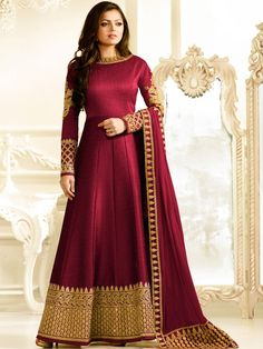 Shop Drashti Dhami wine color silk party wear anarkali kameez online at kollybollyethnics from India with free worldwide shipping.