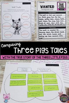 Practicing comparing and contrasting fairy tales with The True Story of the 3 Little Pigs? This unit was created for use with The True Story of the Three Little Pigs by Jon Scieszka and a more traditional retelling of The Three Little Pigs. Includes text dependent questions, writing prompts, Venn diagrams, and more. Perfect for second grade or third grade students. Teaching Second Grade, Second Grade Teacher, 2nd Grade Classroom, 3rd Grade Math, Third Grade, Teaching Vocabulary, Teaching Phonics, Summary Writing, Writing Prompts