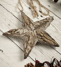 Birch Star With Ribbon - rustic christmas