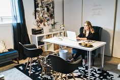 Jennifer Harrup's Houston, Texas Home Office Tour #theeverygirl ~ gotta get me a wing back chair just what I wanted for my desk chair, I'm in it a long time ;)