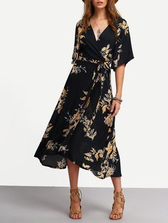 Fabric: Fabric has no stretch Season: Summer Type: Wrap Pattern Type: Floral Sleeve Length: Half Sleeve Color: Black Dresses Length: Midi Style: Casual Material: Cotton Blends Neckline: V Neck Silhoue