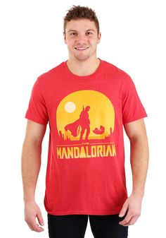 The Mandalorian Red Shirt for Men - Epic Shirt Shop Online Assistant, Silhouette Images, Red Shirt, Disney Shirts, Mandalorian, Shirt Shop, Neck Design, Cool T Shirts, Red Color