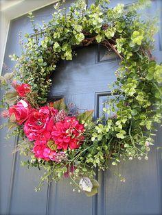 Spring Wreath Pink Spring Door Wreath Boxwood Wreath Pink