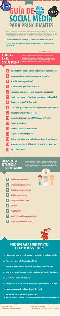 Infografia sobre una guia de social media para principiantes