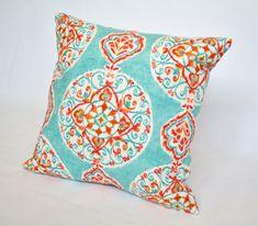 Medallion Inspired Aqua Turquoise Coral Red Linen 16 X 16 Designer Pillow Cover via Etsy