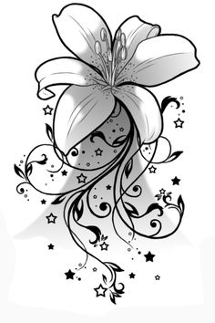 Unique-Black-Lily-Flower-Tattoo-Stencil-By-Albi.png (432×648)