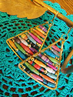 Triangle earrings with paper beads, We made the paper beads, this is a good use for them.
