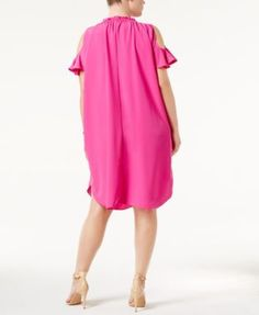 Rachel Rachel Roy Trendy Plus Size Cold-Shoulder Shift Dress - Blue 1X