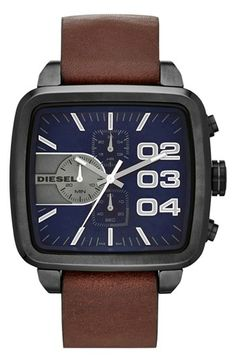 Shop for Diesel Men's Square Franchise Grey Watch. Get free delivery On EVERYTHING* Overstock - Your Online Watches Store! Gents Watches, Watches For Men, Bracelets Bleus, Diesel Watch, Brown Leather Strap Watch, Grey Watch, Brown Texture, Online Watch Store, Square