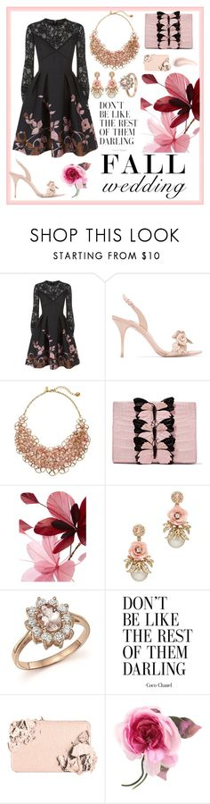"""Fall Wedding: Fun with Florals"" by abbey-santoro ❤ liked on Polyvore featuring Elie Saab, Sophia Webster, Kate Spade, Nancy Gonzalez, Valentino, Bloomingdale's, Too Faced Cosmetics, Soap & Glory, Gucci and fallwedding"