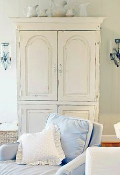 Cottage ● White Armoire and a lovely pale blue Slip Cover