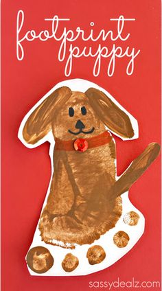 Footprint Puppy Dog Craft! Doubles as a keepsake.- Little Passports #littlepassports #kidscraft #dogcraft