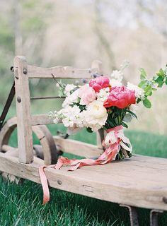 Bright Pink and Blush Peony Bouquet | Heather Payne Fine Art Photography | http://heyweddinglady.com/enchanted-garden-wedding-colorful-summer-florals/