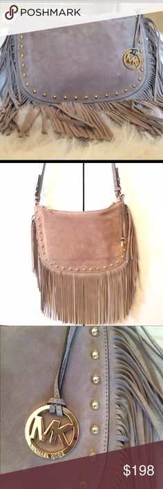 """NWT Michael Kors Dakota Saddle Bag Boho chic style fringe Crossbody/shoulder bag by Michael Kors. Aunthentic. Genuine Suede in taupe with gold hardware. Shoulder strap is 21"""" at longest. MINT. Retailing now for $278. Amazing for spring! Michael Kors Bags Shoulder Bags"""