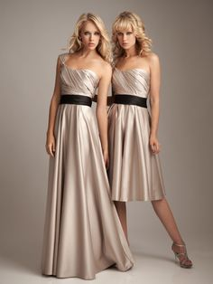 Champagne bridesmaid dress would have a grayish blue sash