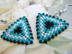Beadwork Peyote Triangle Earrings in Turquoise, Black and White Beaded Geometric