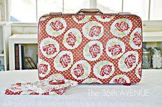 Mod Podge fabric suitcase